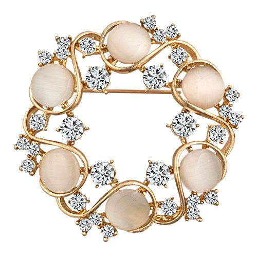 JewelryHouse Vintage Fancy Circle Flower Woman Imitation Crystal Brooches and Pins (Pin Circle Vintage)