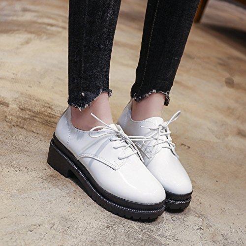 GAOLIM Zapatos De Mujer De Primavera Imprimación Plana Gruesa Pequeños Zapatos Singles Femeninos Zapatos Blanco