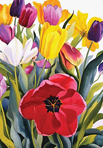 Toland Home Garden Tulip Garden 12.5 x 18 Inch Decorative Co
