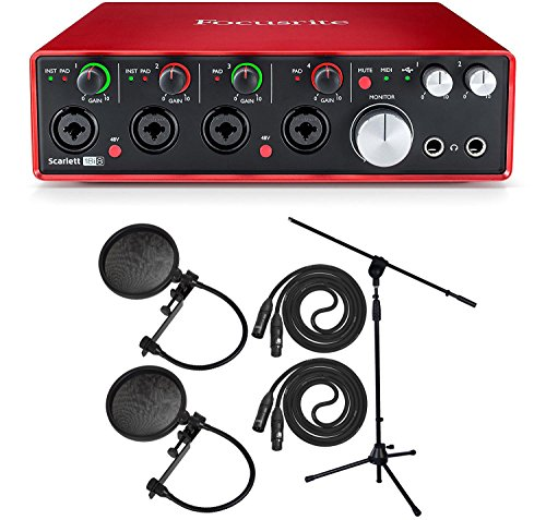 Focusrite Scarlett 2i2 Studio Pack & Recording Bundle - 2nd Gen w/Pro Tools, Microphone Stand, 2 Mic Pop Filters, 2 XLR Cables