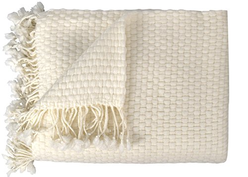 Peach Couture Couture Home Collection Cashmere Wool Lightweight Warm and Luxurious Basket Weave Throw with Tassels, Off Off White