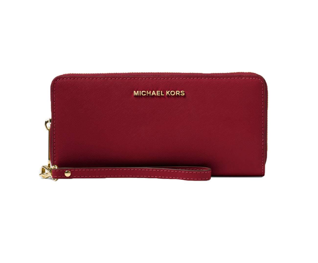 MICHAEL Michael Kors Jet Set Travel Leather Continental Wristlet, Color 550 Maroon