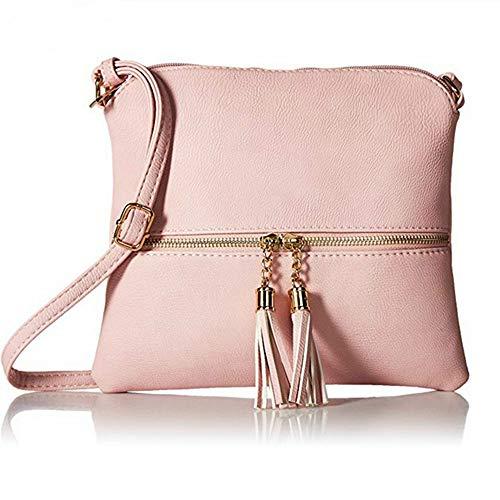 Kbinter Lightweight Medium Crossbody Bag with Tassel and Zipper Pocket (Pink)