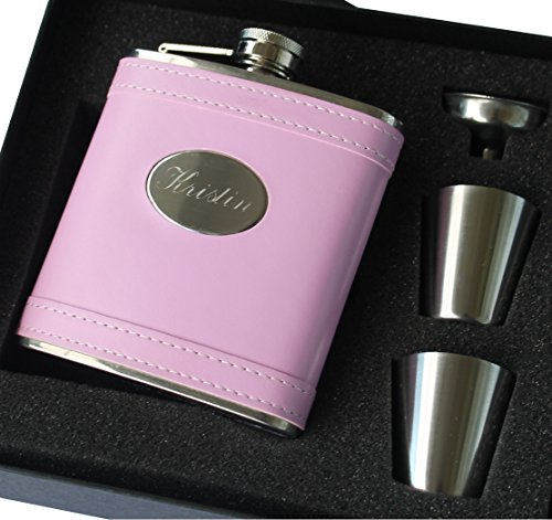 Personalized Pink Leather Flask Set - Bridesmaid Gift, Bachelorette Party Hip Flask - Custom Engraved Monogrammed for Free