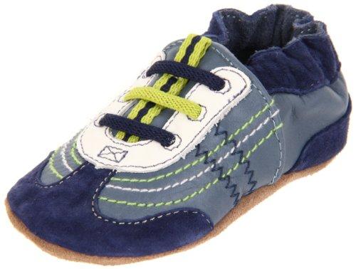- Robeez Soft Soles Braedon Slip On (Infant/Toddler/Little Kid),Blue/Lime,0-6 Months (1-2 M US Infant)