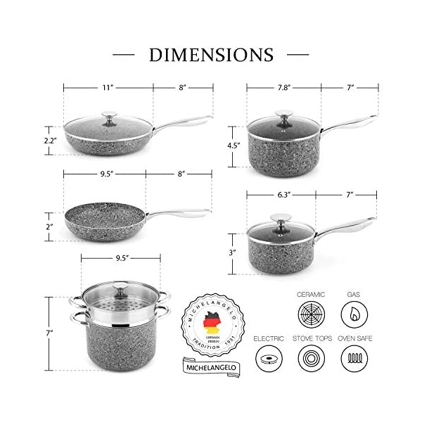 MICHELANGELO Stone Cookware Set 10 Piece, Ultra Nonstick Pots and Pans Set with Stone-Derived Coating, Kitchen Cookware… 7