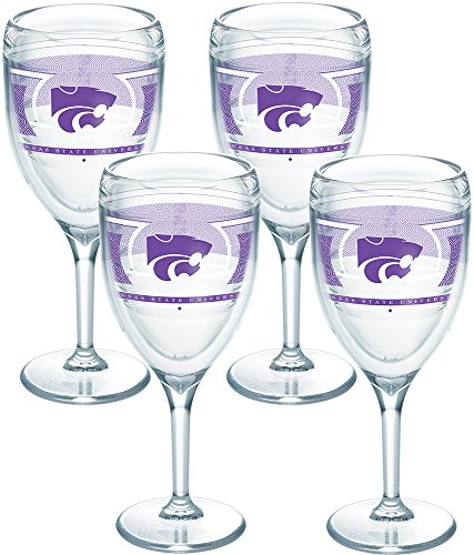 Tervis 1230385 Kansas State Wildcats Reserve Insulated Tumbler with Wrap 4 Pack - Boxed 9oz Wine Glass -