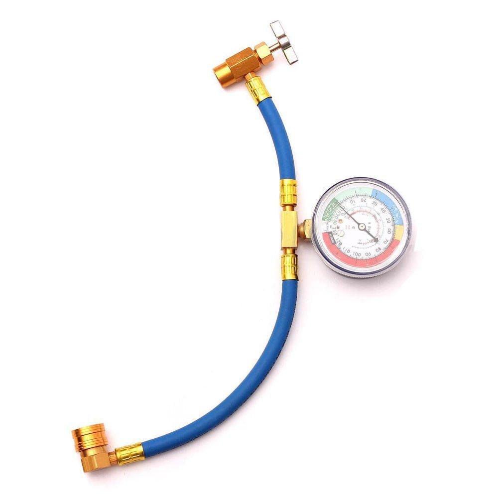 FidgetFidget Refrigerant Recharge Hose Can Tap + Gauge with Brass Fitting Pro R-134 R134A AC
