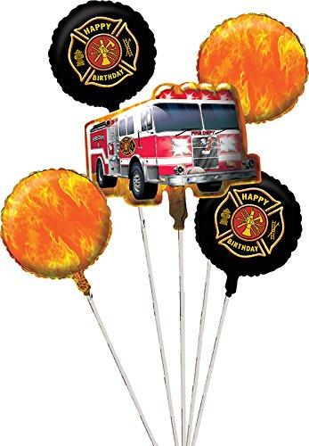 Creative Converting 5 Piece Fire Watch Metallic Balloon Cluster, Black/Orange
