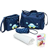 Sale!! Baby Diaper Bag, Large Diaper Bag with Small Travel Nappy Bag for Boys and Girls, Changing Pad & Baby Bottle Bag, Multi-Function Waterproof Tote Bag for Mom. A Perfect Baby Shower Gift. (Blue)