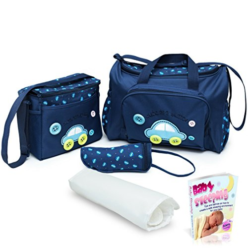 SALE!!! Baby Diaper Bag, Large Diaper Bag with Small Travel Nappy Bag For Boys And Girls, Changing Pad & Baby Bottle Bag, Multi-Function Waterproof Tote Bag For Mom. A Perfect Baby Shower Gift. (Blue) (Changing Bag Nappy)