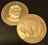 2017 President Donald Trump Gold Inaugural BUFFALO Commemorative Novelty Coin 38mm. 45th President of the United States of America