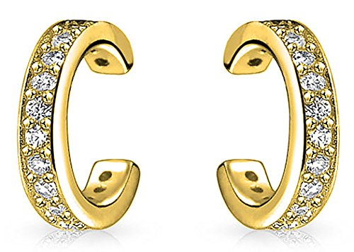 Minimalist Cubic Zirconia Pave CZ Band Cartilage Ear Cuffs Clip Wrap Helix Earrings 14K Gold Plated Sterling Silver (Band Cuff Earrings)