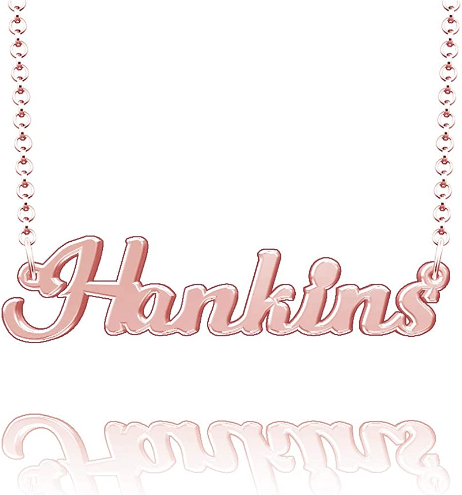 CLY Jewelry Personalized Last Name Necklace Custom Sterling Silver Hankins Plate Customized Gift for Family