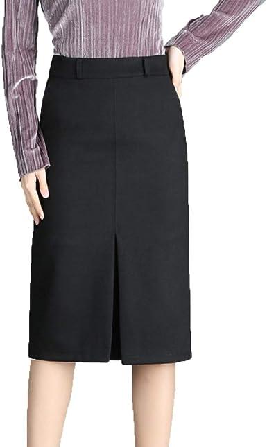 NIAISI Falda con Forro Negro para Mujer Plus Lined Slit Trabajo De ...