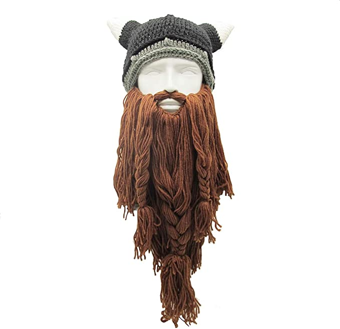 Xinqiao Mens Viking w//Fake Beard Beanie Handmade Knit Funny Hats Pillager Horned Caps