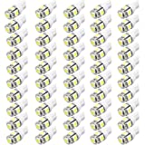 XT AUTO 50pcs Super White T10 Wedge 5-SMD 5050 LED Light bulbs W5W 2825 158 192 168 194 for Car Boot Trunk Map Light Number Plate License Light