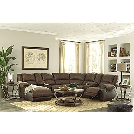 Nantahala Contemporary Coffee Color Sectional Sofa