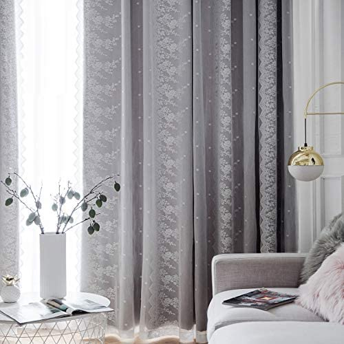 TIYANA All Match Dual Layer Window Curtains 1 Pair Grommet Top