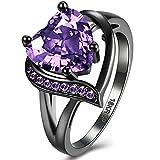 BEMI Romantic 18K Black Gold Plated Promise Band Ring Wedding Purple Heart Cubic Zirconia Rings for Women 6