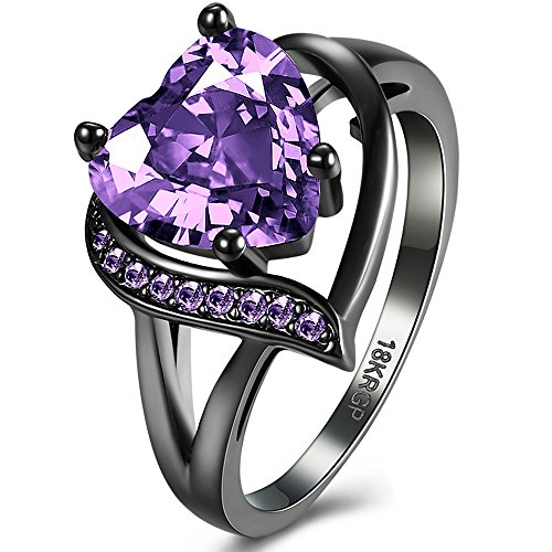 Purple Dark Ring - BEMI Romantic 18K Black Gold Plated Promise Band Ring Wedding Purple Heart Cubic Zirconia Rings for Women 8