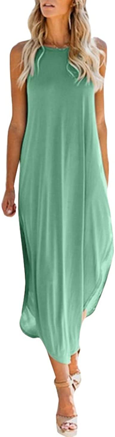 Women Long Dress Casual Sleeveless Button Up Solid Loose Plue Size Beach Maxi Dresses