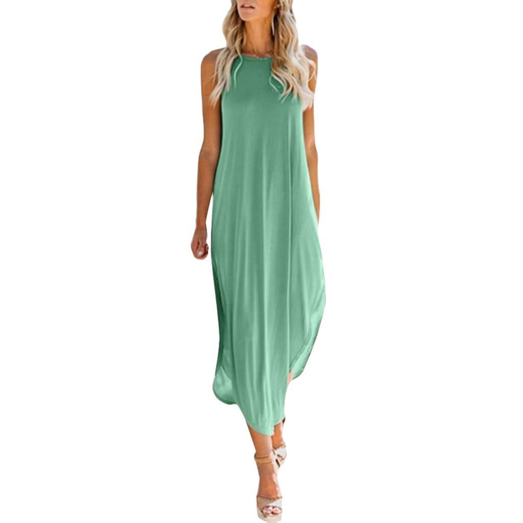 COOKI Women Dresses Casual Loose Sleeveless Oversized Split Maxi Dress Summer Beach Long Dress Plus Size Dress Green
