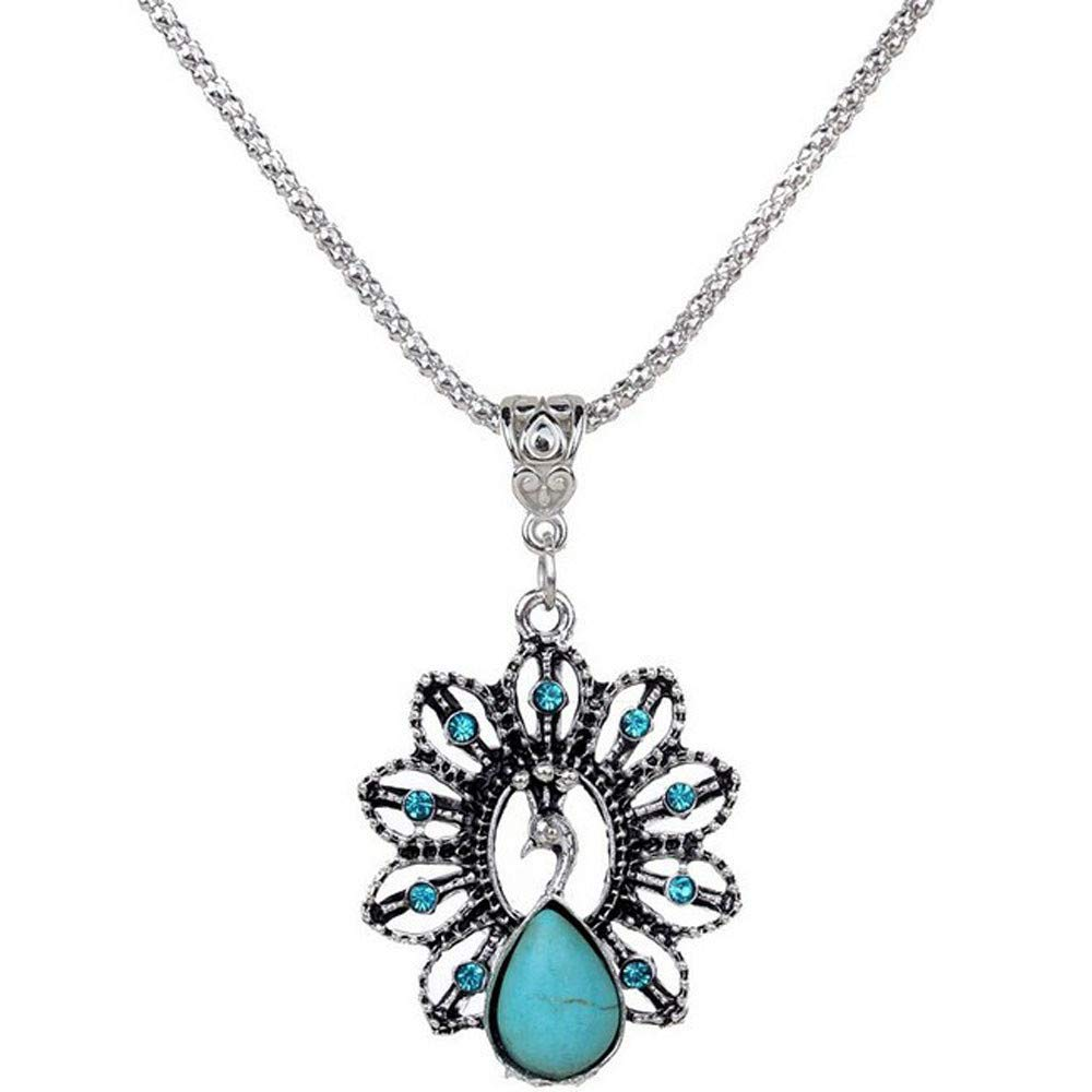 Bohemian Retro Turquoise Stone Pendant Necklace Delicate Carved Chain Jewelry Necklet for Women Gift (Peacock)