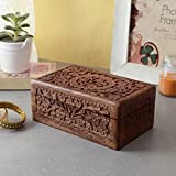 Artisans Of India xotic Hand Carved Wooden Keepsake Jewelry Trinket Box Storage Organizer with Floral Patterns & Velvet Interior