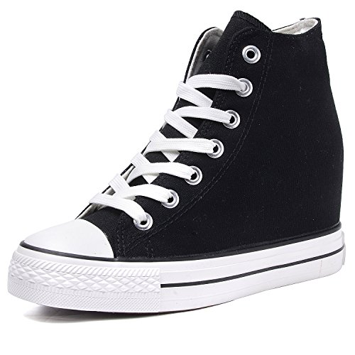 Odema Women Canvas Hidden Heel Wedge Shoes Lace Up High Top Sneakers Black 0RX22Els