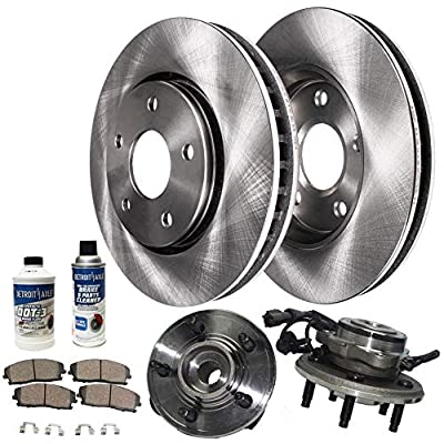 Detroit Axle - Front Wheel Hub Bearing Assembly, Disc Brake Rotors w/Ceramic Pads w/Hardware & Brake Cleaner for 2002 2003 2004 2005 Ford Explorer 4-door - [02-05 Mercury Mountaineer]