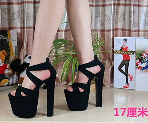 Ladies Heel Xing Night Water Shoes Sandals With Shoes Black 5 Thick Sandals Ultra High Fish High Mouth Lin Summer Cm Single With Women 20Cm18 tqrSaxr5