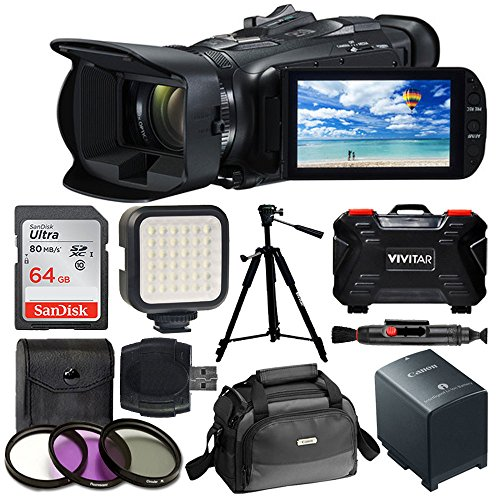 - Canon VIXIA HF G21 Full HD Camcorder + Canon Soft Carrying Case SC-A80 + 64GB Memory Card + LED Video Light + 3 Piece Filter Kit 58mm + Quality Tripod + Hi-Speed SD USB Card Reader - Accessory Bundle