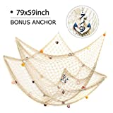 Curtains with Fish on Them king do way 79inch x 59inch Mediterranean Style Fishing Nets with Sea Shells and Anchor Decorative Background Wall Bar for Home Decoration(White)