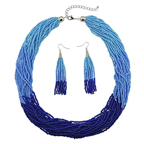 Bocar Multi Layer Beaded Statement Necklace Set Mix Strand Necklace and earrings for Women Gift