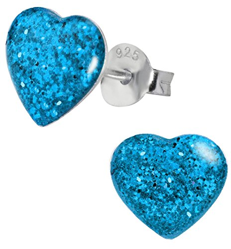 Hypoallergenic Sterling Silver Sparkly Blue Glitter Heart Stud Earrings for Kids (Nickel Free)