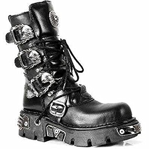 NEWROCK New Rock 391 Black Metallic Reactor Goth Biker Unisex Negro Boots