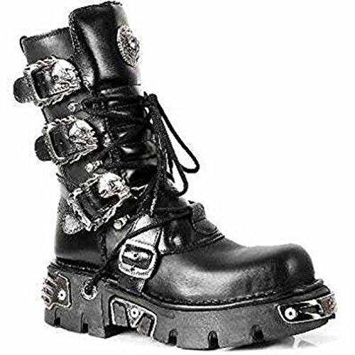 NEWROCK New Rock 391 Black Metallic Reactor Goth Biker Unisex Negro Boots