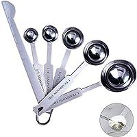 Set de 5+1 Cucharas Medidoras de acero inoxidable, (304) Cucharas de medición de acero inoxidable, especias de medición…