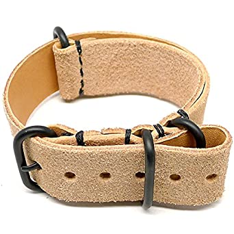DaLuca NATO Watch Strap - Natural Suede (PVD Buckle) : 20mm