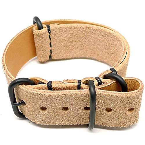 DaLuca Military Watch Strap - Natural Suede (PVD Buckle) : 20mm