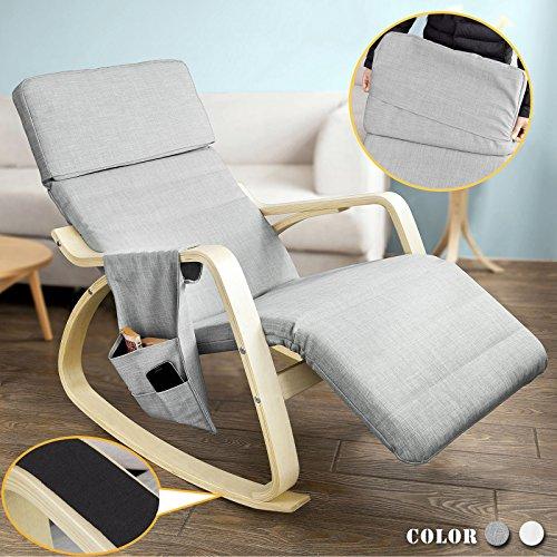 SoBuy® Neu-Schaukelstuhl (verstellbares Fussteil), Relaxstuhl mit Tasche, Relaxsessel mit neuem Gestell, FST19-HG