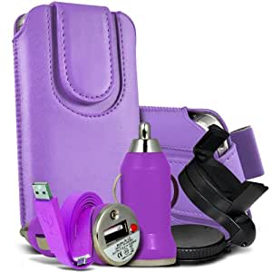 Nokia Lumia 610 Premium Protective PU Leather Magnetic Button Pull Tab Cord Slip In Pouch Pocket Skin Cover Quick Cover Case, 360 Rotating Carholder Car Mount, Rapid Bullet In Car USB Charger With Charging LED Light & Super Fast 1 Metre Flat Data Transfer Sync Cable Purple by Spyrox