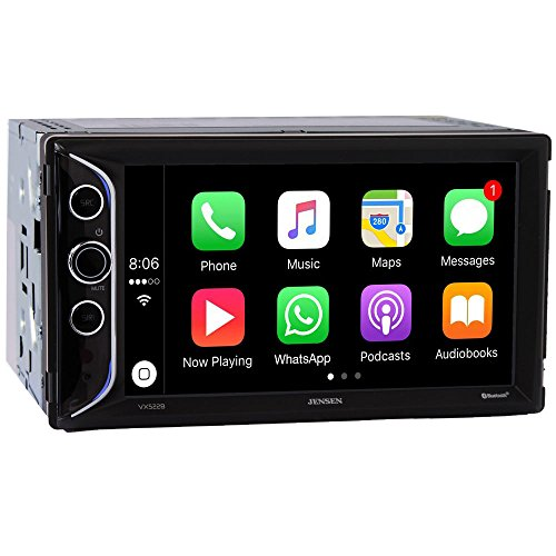 Jensen VX52286.2″ LED Backlit LCD Digital Multimedia Touch Screen Double DIN Car Stereo with Built-In Apple CarPlay, Bluetooth & USB Port