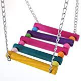 Pet Bird Parrot Swing Hanging, Rainbow Color Cage Hammock Hanging Toy Ladder Toy for Parakeet Budgie Cockatiel Lovebirds