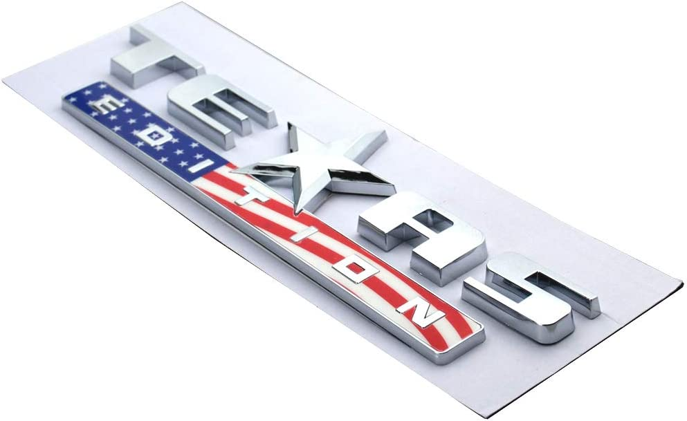 3 Pcs Texas Edition Emblem 3D Nameplate Badge Letter Replacement For Chevrolet Silverado SIERRA GM Chrome//Blue//Red