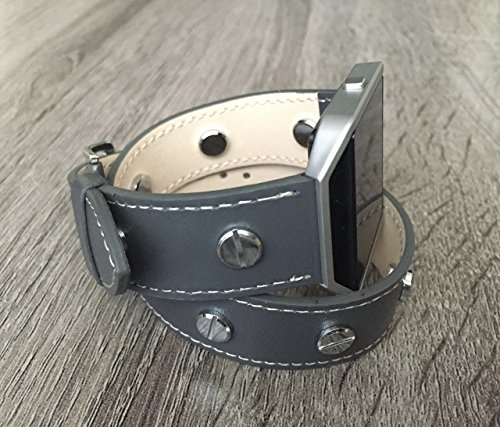 Double Wrap Grey Vegan Leather Bracelet For Fitbit Blaze Smart Fitness Watch Handmade Adjustable Size Wristband Strap Fitbit Blaze Band With Silver Metal Frame And Jewelry (Band Rivets)
