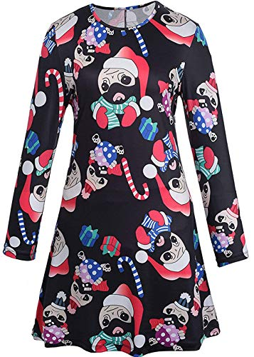 For G and PL Christmas Women Printed Gift Swing Party Long Sleeve Tunic Mini Dress Dog ()