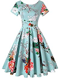 Womens 1950s Retro Vintage Cocktail Party Swing Dress with Short Sleeve