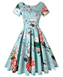 ROOSEY Womens 1950s Vintage Short Sleeve Floral Print Swing Tea Party Prom Dress, Pattern 2, Large